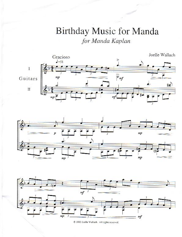 Birthday Music for MandaJoelle Wallach, Composer | Joelle