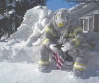 Ice sculpture commemorating firefighters of 9/11