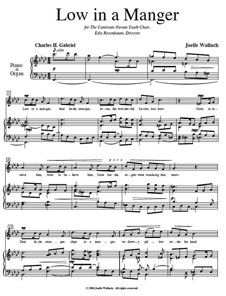 All Music Chords beethoven s 5th sheet music : Low in a Manger | Joelle Wallach, Composer